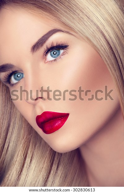 78ab376b2b3 Beautiful Blonde Girl with Healthy blond Hair and perfect make up,  beautiful skin. eye