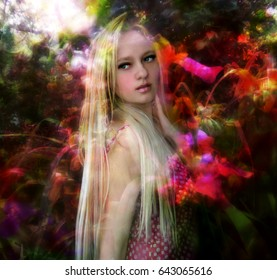 Beautiful blonde girl with long hair , on the surreal floral background
