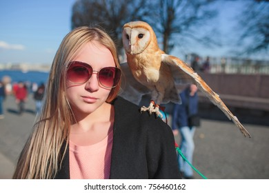 beautiful blonde girl owl
