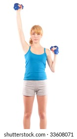 Beautiful blonde girl in shorts doing aerobics, isolated on white. Health and sport concept.