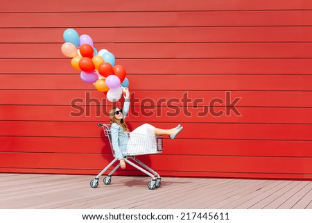 68c0602c81b9 Beautiful Blonde Girl Sitting Shopping Cart Stock Photo (Edit Now ...