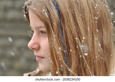 Beautiful blonde girl. Snowflakes on the hair of a girl. The first snow