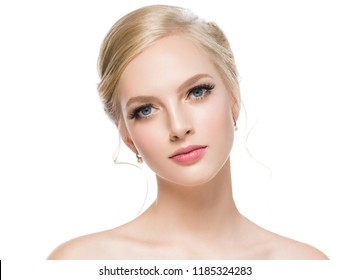 Beautiful blonde hair woman with long lashes beauty eyes