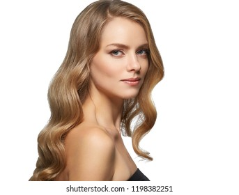 Beautiful blonde long hair woman curly  healthy beauty hairstyle female portrait