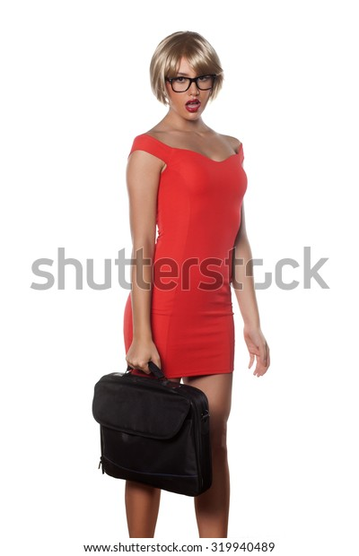 beautiful blonde with short hair posing with a laptop bag