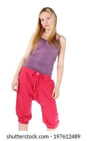 beautiful blonde teenage girl in the sport wear