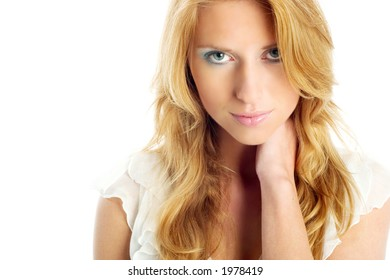 Beautiful blonde in white