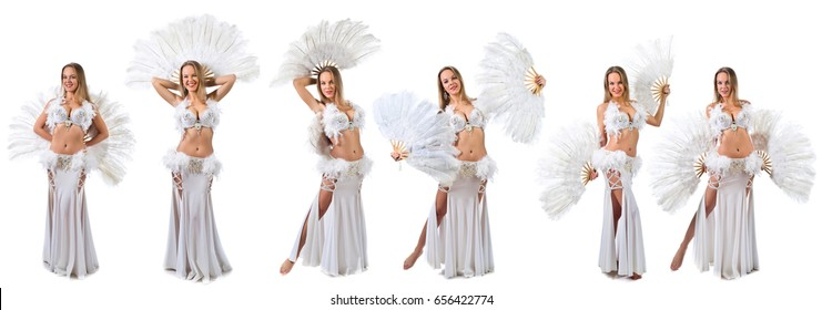 Beautiful blonde in white carnival costume with white fan . Beautiful professional make-up . Isolated on white background.