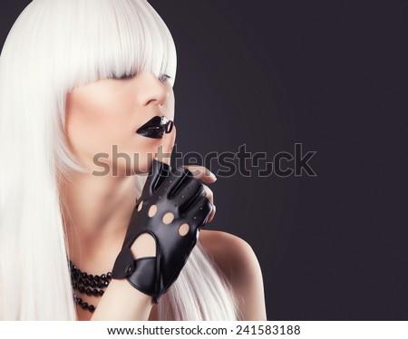 Beautiful Blonde Woman Black Makeup Accessories Stock Photo