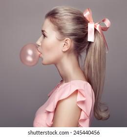 Beautiful blonde woman. Fashion portrait.