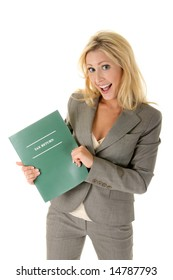 Beautiful blonde woman is happy and excited about getting a tax refund!  (or anything other text you may want to add)