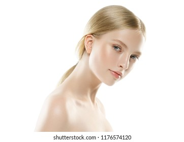 Beautiful blonde woman with healthy hair and skin