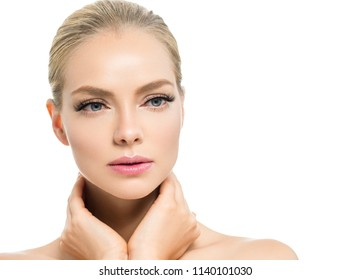 Beautiful blonde woman with natural makeup healthy skin beaauty concept isolated on white