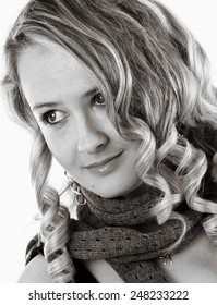 beautiful blonde woman portrait with scarf