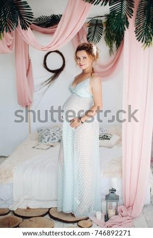 4dfa24e05b2 Beautiful Blonde Woman Pregnant Wearing Night Stock Photo (Edit Now ...