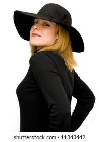 beautiful blonde woman profile on white background