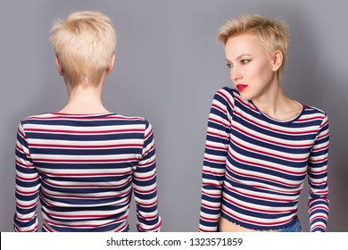 Beautiful blonde woman with short hairstyle