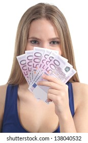 Beautiful blonde woman smiling and holding a lot of five hundred euro banknotes isolated on a white background