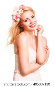 beautiful blonde woman with tulip hair decoration isolated on white