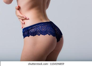 Beautiful blonde woman wearing a set of lace lingerie