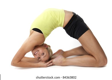 A beautiful blonde woman in yoga pose