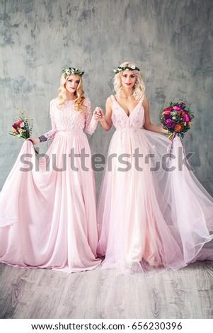 Beautiful Blonde Women Pink Evening Gown Stock Photo Edit Now