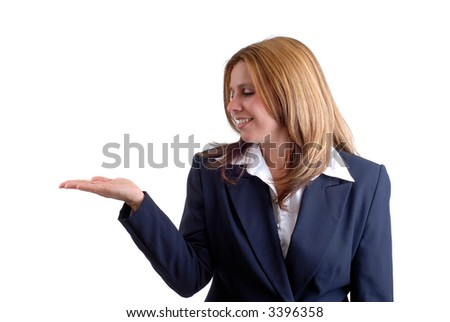 Beautiful Blonde Young Businesswoman Holding Her Stock Photo
