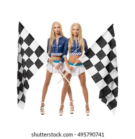 Beautiful blondes posing with checkered flags