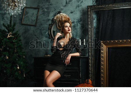Beautiful Blondie Girl Sexually Posing Middle Stock Photo Edit Now