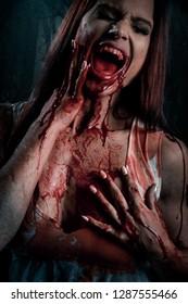 Beautiful Bloody Vampire Woman