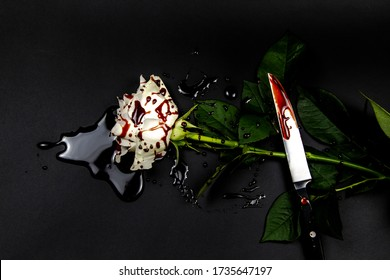 Beautiful and bloody white rose with knife on the dark background. Bloody rose - conceptual photo.  White rose with knife and blood.