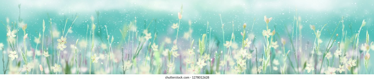 Beautiful blooming flowers. Panorama view for a glass panel (skinali)