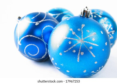 Beautiful blue ball against the white background