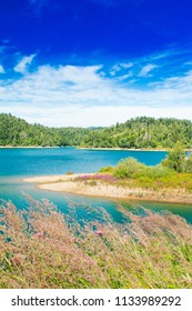 Beautiful blue bay on Lokvarsko lake in colorful landscape, Lokve, Gorski kotar, Croatia