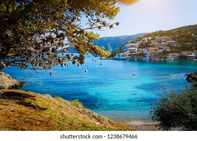 Beautiful blue bay surrounded by pine trees in Assos village located on Kefalonia. Summer tourism vacation trip around Greece