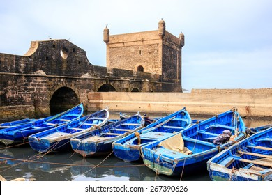 Beautiful blue boats in Essaouira old harbor, Morocco