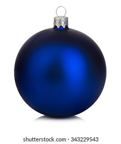 Beautiful blue Christmas ball on a white background.