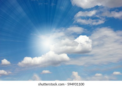 a beautiful blue clear sunny sky and clouds as a celestial landscape