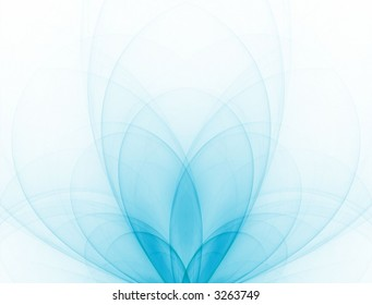 Beautiful, blue colored surreal leaves flow out  (fractal abstract background)