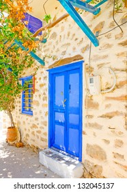 Beautiful blue colored wooden door of a house in Langada a village of Amorgos island in Greece