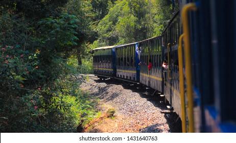 The beautiful blue colour indian Nilgiris mountain train