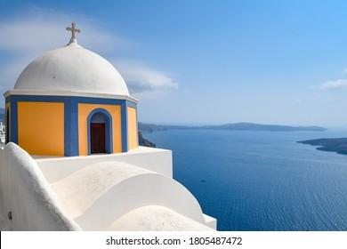 Beautiful blue domes of Santorini