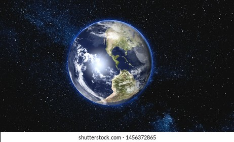 Beautiful Blue Earth with Moon satellite approach, rotating and spinning in open space - Cities Light change From Night To Day. High detail 3D Render. Zoom. Elements of this image furnished by NASA