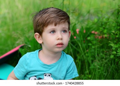 Hermosos ojos azules, pequeño niño al aire libre
