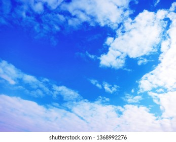 beautiful blue gradient sky and white clouds
