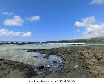 Beautiful blue green aqua tide pools in Hawaii