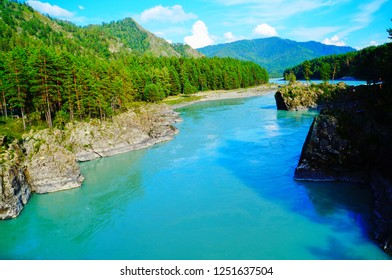 Beautiful blue and green waters of Katun River, Altai Mountains, Southern Siberia, Russia, Asia