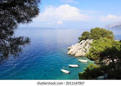 Beautiful blue lagoon in Brela , Croatia