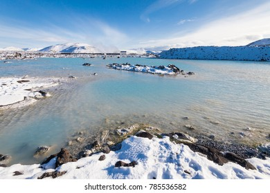 Beautiful Blue Lagoon view during winter in Iceland