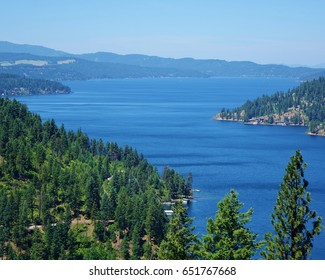 Beautiful blue Lake Coeur d'Alene, 25 miles long, in northern Idaho on a nice late spring day under a blue sky with some evergreen tree tops in the foreground. View from Mineral Ridge hiking trail.